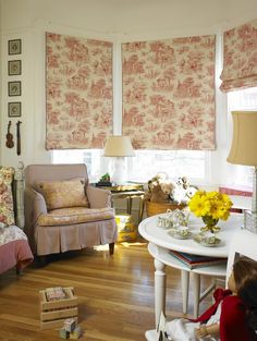 Red Toile Chair | ticking chair and red toile curtains | Red Family Room