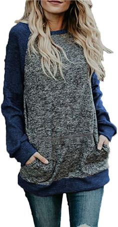 eb0b06eb42 BLUETIME Womens Tunic to Wear with Leggings Long Sleeve Casual Loose  Blouses Shirts (L