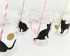 Cat Party Cups - Cat Birthday - Kitten Birthday - Meow Party - Cat Baby Shower - Kitty Cat Birthday Cups - Kitty Party - Cat Party Supplies