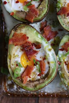 Baked Egg Avocado Boats! This breakfast idea combines two of my favorite breakfast foods: eggs and avocados! Just follow the simple instructions below and you will have one delicious, low carb breakfast!