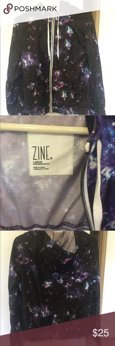 Galaxy print windbreaker This is like new condition. Brand is Zine from Zumies. Slightly cinched at the bottom and room for a long torso and arms Zine Clothing Jackets & Coats