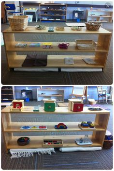 Two of the shelves of work materials from the Toddler Environment at New Child, New Adult in Phoenix, Oct 1-4, 2014.  The Toddler Atrium is included as only a U-shaped bay within a normal Montessori Toddler environment.  Here are two shelves of work not directly atrium related (though note the use of liturgical color pom poms in the sorting tray). Sheep from Good Shepherd work added for scale only.