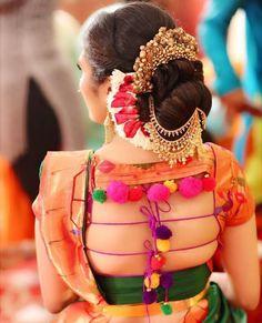 New Blouse Designs - Latest Saree Blouse Back Neck Designs - Buy lehenga choli online Blouse Back Neck Designs, New Blouse Designs, Saree Blouse Designs, Saree Hairstyles, Indian Bridal Hairstyles, Wedding Hairstyles, Sari Bluse, Blouse Designs Catalogue, Nauvari Saree
