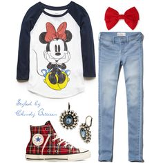 Baseball shirt = Yes // Plaid Converse = Yes // Jeans = Yes // Mini-Mouse = No // Red Bow = No