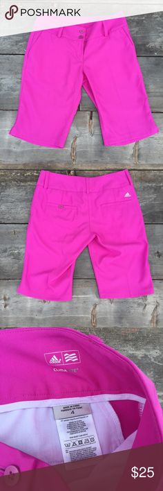 "adidas climalite golf shorts pink Fuschia SZ 4 adidas climalite golf shorts pink Fuschia SZ 4-WAIST 15.5""  Double button front with zipper knee length  Good Condition Shorts #GolfShorts"