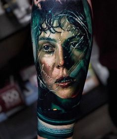 Leg Tattoos, Body Art Tattoos, Sleeve Tattoos, Cool Tattoos, Ellen Ripley, Alien Tattoo, Colour Tattoo, World Tattoo, Realism Tattoo