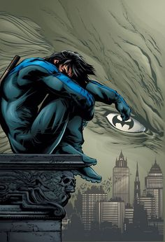 Nightwing, I NEVER NOTICED BUT THAT CLOUD IS LIKE FACE AND THAT TRUSTY WEAPON OF HIS IS THE PUPIL OF THE EYE maialeanne