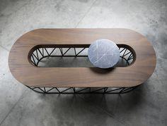 Gregoire de lafforest | 'Exo' Coffee Table | Marble, walnut, black painted metal | 2014