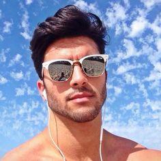 Marcello Alvarez Men Sunglasses Fashion, Mens Sunglasses, Marcello Alvarez, Discount Sunglasses, Beautiful Men Faces, Elegant Man, Men Photography, Boy Hairstyles, Hair And Beard Styles