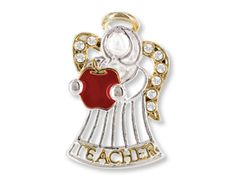 Teacher Angel Lapel Pin - The #teacher #angel lapel pin measures approximately one inch and features stunning crystal accents. Great #gift idea!