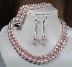 2 Rows 8 mm Pink mar del sur Shell collar de perlas pulsera joyería AAA grado fabricación de la joyería diseño conjunto BV92(China (Mainland))