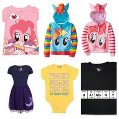 My Little Pony outfits. Images: WeLoveFine, ThinkGeek, Amazon.