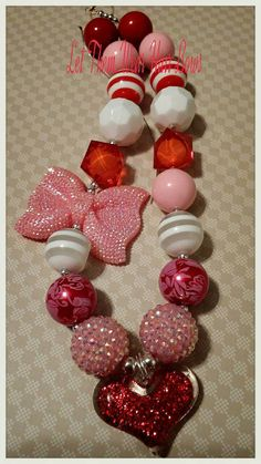 Your place to buy and sell all things handmade Chunky Bead Necklaces, Chunky Beads, Beaded Necklace, Making Hair Bows, Valentines Day Hearts, Clays, How To Make Bows, Ornament Wreath, Wire Jewelry