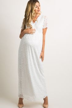 Shop cute and trendy maternity clothes at PinkBlush Maternity. We carry a wide selection of maternity maxi dresses, cute maternity tanks, and stylish maternity skinny jeans all at affordable prices. White Maternity Maxi Dress, Maternity Evening Gowns, Lace Maxi, Maxi Wrap Dress, Pink Blush Maternity, Maternity Fashion, Gown Dress, Maternity Photos, White Nurse Dress