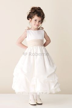 Cheap Ball Gown Floral First Communion Dress/ Ankle Length Tulle Flower Girl Dress with Gathered Skirt by Christine Van Ivory Flower Girl Dresses, Flower Girls, Little Girl Dresses, Organza Dress, Satin Dresses, Satin Tulle, Dressy Dresses, Kids Bridesmaid Dress, Prom Dress