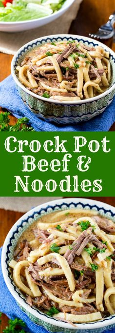 Crock Pot Beef and Noodles ~ Tender pieces of shredded beef in a salty broth mixed with thick and tender egg noodles... It's a hearty, stick to your ribs meal