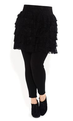 Plus Size Tiered Lace Skirt - City Chic - City Chic