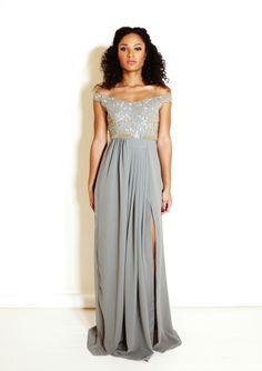 Grey Off Shoulder Maxi Dress