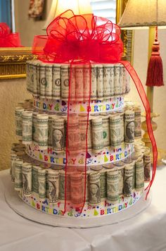 Money Cake. Was a hit! Many oohs and ahhs! Great idea for teens! ✔️