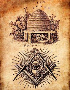 Symbolique de la Franc-Maçonnerie - Ruche & abeilles, compas, équerre, lettre G en majuscule & Œil de la Providence.