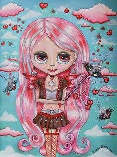 Cute Pink Blythe Doll Illustration