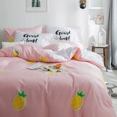 Beautiful Pink Yellow and Green Pineapple Print Cute Girly Modern Chic Twin, Full Size Bedding Sets Pink Bed Covers, Bed Duvet Covers, Queen Bedding Sets, Comforter Sets, King Comforter, Cute Bed Sets, Neutral Bed Linen, Yellow Bedding, Cheap Bed Sheets