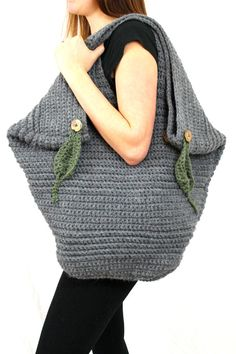 Giant Leafy Tote PDF Crochet Pattern EXTRA by AbigailHazeDesigns