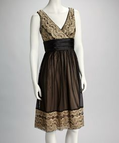 Take a look at this Black & Gold Sequin Lace Empire-Waist Dress - Women by R Richards on #zulily today!