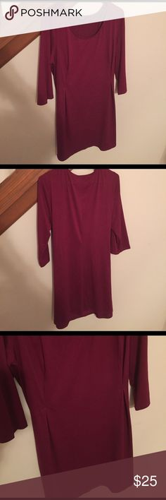 """Cute burgundy tunic Soft material. 3/4 lent sleeves. 36"""" down from top shoulder hem to bottom hem. Scoop neck. Has pinched pleats on both sides of the front. Smooth soft feel. 96% polyester 4% spandex. Only worn once love Reign Tops Tunics"""
