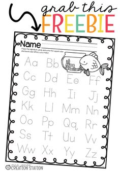 Jones' Creation Station Alphabet Letter Identification Fishing for the Alphabet Game - FREE PRINTABLE letter tracking sheet Teaching Letters, Preschool Letters, Alphabet Activities, Preschool Worksheets, Literacy Activities, Preschool Ideas, Alphabet Tracing, Alphabet Games, Alphabet Crafts