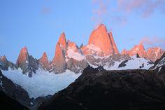 Alpenglow on a very very cold pre dawn on the Fitzroy Massif. Left to right the main peaks are Aguja de la S (2335m), Saint Exupery (2558m), Aguja Rafael (2482m), Cerro Poincenot (3002m), Aguja de la Silla (2938m), Monte Fitz Roy (3405m), Aguja Val de Vois (2653m), Aguja Mermoz (2732m). Argentine Patagonia, #Argentina #nature #landscapephotography