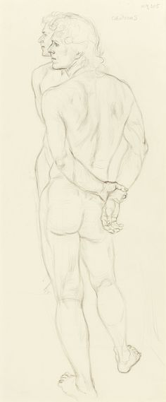PAUL CADMUS (American, 1904-1999)Jon, Mirrored study for artist and model, 1973, pencil on paper