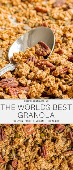 Recipes Desserts Salty-sweet clusters of crunchy oaty goodness – it's the best granola in the world! Healthy Breakfast Recipes, Healthy Baking, Vegetarian Recipes, Healthy Recipes, Healthy Tips, Granola Sin Gluten, Vegan Granola, Cheap Clean Eating, Clean Eating Snacks
