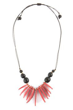 Tagua Nut Tribal Claw Necklace in Sangria Pink, AZUCA Style