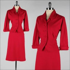 women's suits from 1940's  - crimson red.