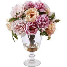 Peonies Glass Vase 20'' Multicolor Silk Floral Decor | eBay ❤ liked on Polyvore featuring home, home decor, floral decor, flowers, decor, plants, fillers, pink, flower home decor and flower stem