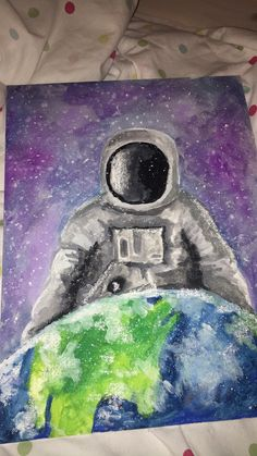 Gouache painting of a spaceman