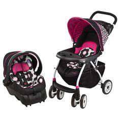 Evenflo Journey 300 Full Size Stroller with Embrace 35 LX Infant Car Seat - Pink/Black