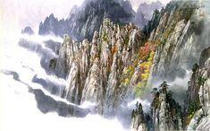 문정웅 그림『금강산 만물상』, 그는 1944년 평양에서 출생. 평양미대를 졸업 후, 만수대창작사에서 40여년간 활동하였다. 그의 작품은 색채가 풍부하고 필치가 활달하며 특히 금강산의 가을 North Korea, Niagara Falls, Japan, Watercolor, Nature, Aquarium, Pen And Wash, Goldfish Bowl, Watercolor Painting