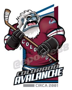 A Yeti with  the 2001 Colorado Avalanche jersey - This was the year the Avalanche won its 2nd #NHL #StanleyCup & ended Ray Bourque's 22 year career with a Stanley Cup.