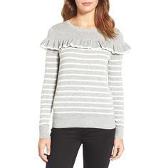 Women's Chelsea28 Ruffle Stripe Sweater (290 QAR) via Polyvore featuring tops, sweaters, stripe top, white sweater, flutter-sleeve top, white top and layered tops