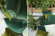 Found Vintage Rentals | Color Theory GREEN  #green #velvet #pillows #colortheory #vintagefurniture #vintagerentals