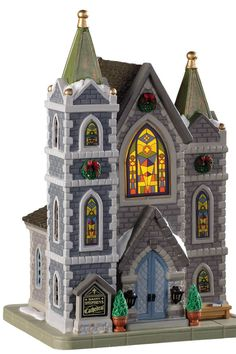 Lemax Christmas Village Building - St Stephen's Cathedral by Lemax at Fleet Farm Christmas Village Accessories, Christmas Village Collections, Lemax Christmas Village, Lemax Village, Halloween Village, Christmas Villages, Villas, American Sales, Saint Stephen