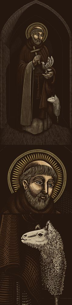 Personal project - illustration of St. Francis and an altar to place him in. Altar, Patron Saints, St Francis, Ink Illustrations, Art Direction, Art Museum, Darth Vader, Photoshop, Animation