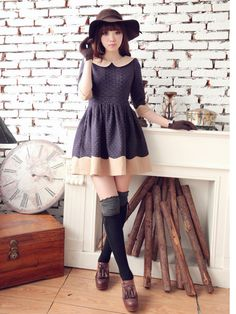retro skater dress with contrast collar