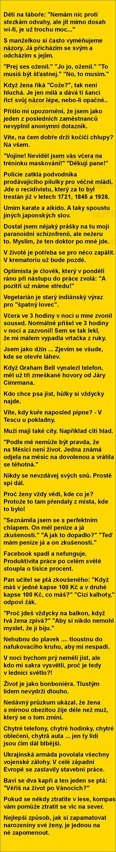 vtipné obrázky, vtipy a videa Good Jokes, Funny Jokes, Try Not To Laugh, Jokes Quotes, Funny Photos, Picture Quotes, The Funny, Quotations, Laughter