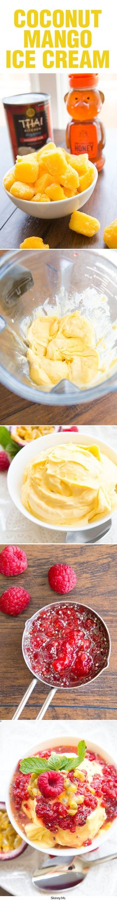 Make your own creamy, soft-serve style ice cream using just three ingredients: coconut milk, frozen fruit, and honey. #mangoicecream