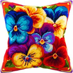 Violets pillowcase cross stitch DIY embroidery kit, needlework – Pillows and matters – Kreativ Cross Stitch Charts, Cross Stitch Designs, Cross Stitch Patterns, Diy Embroidery Kit, Cross Stitch Embroidery, Cross Stitch Cushion, Cross Stitch Flowers, Embroidery Techniques, Cross Stitching