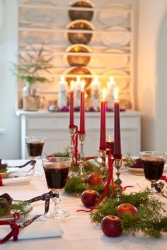 Just a few red, natural elements to make a holiday table special.
