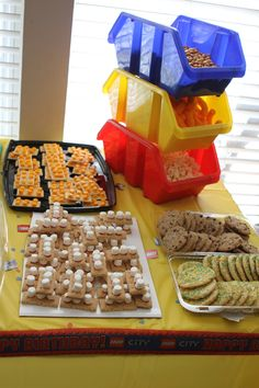 lego themed food ideas. For my hubby!! This is so perfect.